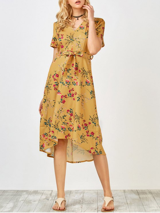Short Sleeve Midi Floral Dress - YELLOW S Mobile