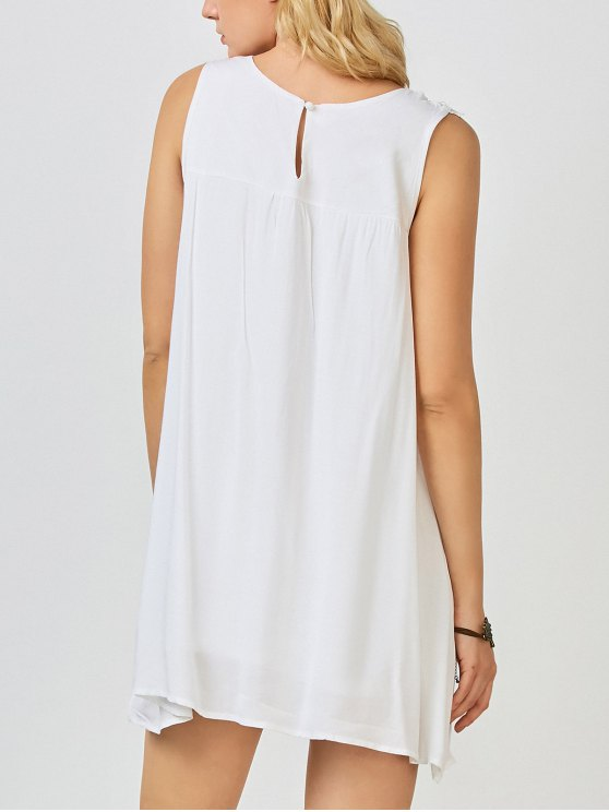 Mini Trapeze Summer Dress - WHITE S Mobile