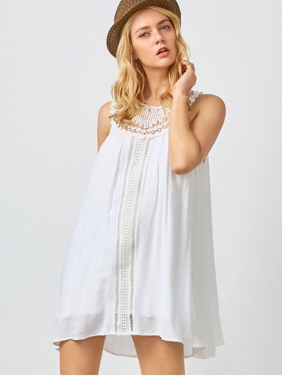 trendy Mini Trapeze Summer Dress - WHITE L