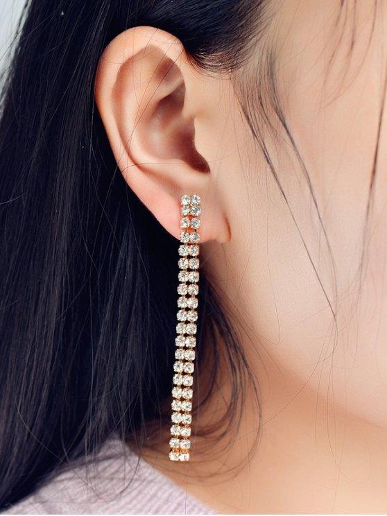 Boucles d'oreilles en bandes de strass - Or