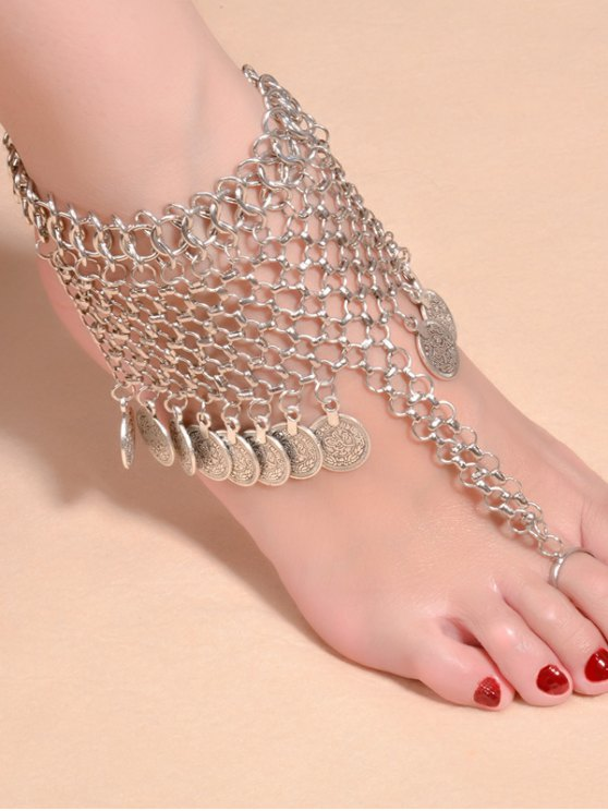 best Alloy Coin Fringed Mesh Belly Dance Anklet - SILVER