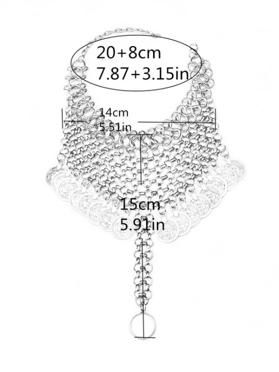 Alloy Coin Fringed Mesh Anklet - SILVER  Mobile
