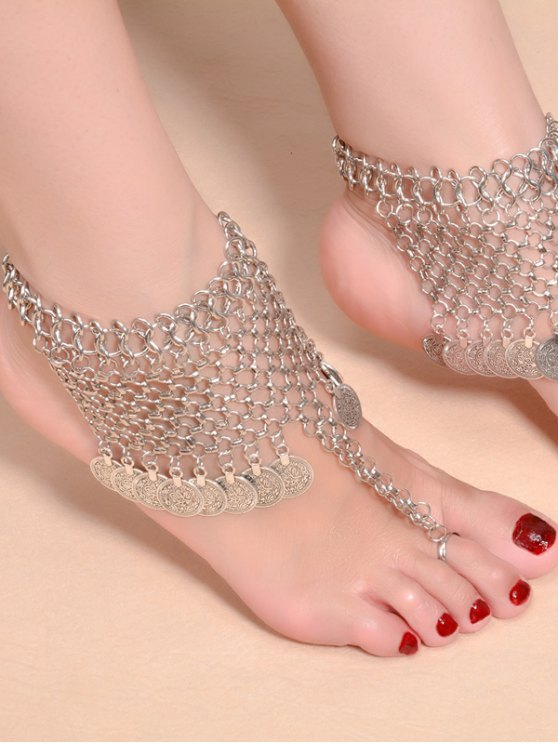 Alloy Coin Fringed Mesh Belly Dance Anklet - SILVER  Mobile