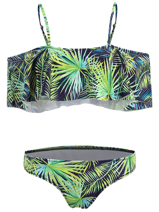 Palm Print Off The Shoulder Bikini - BLUE AND GREEN M Mobile