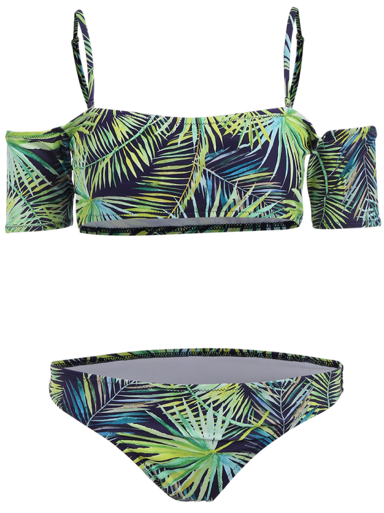 Palm Print Crop Bikini Top and Bottoms - BLUE AND GREEN M Mobile
