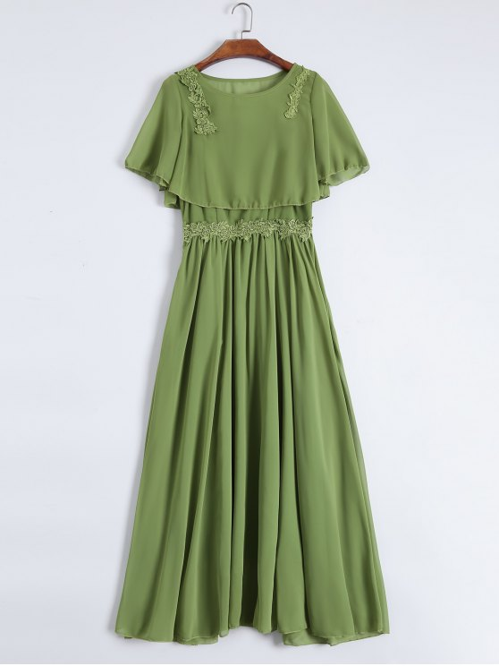 shops Maxi Cami Dress with Cropped Blouse - GREEN XL