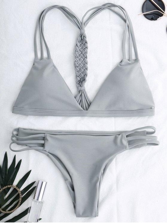 outfits Cutout Strappy Bikini Set - GRAY M
