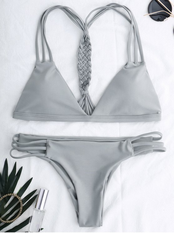 shop Cutout Strappy Bikini Set - GRAY S