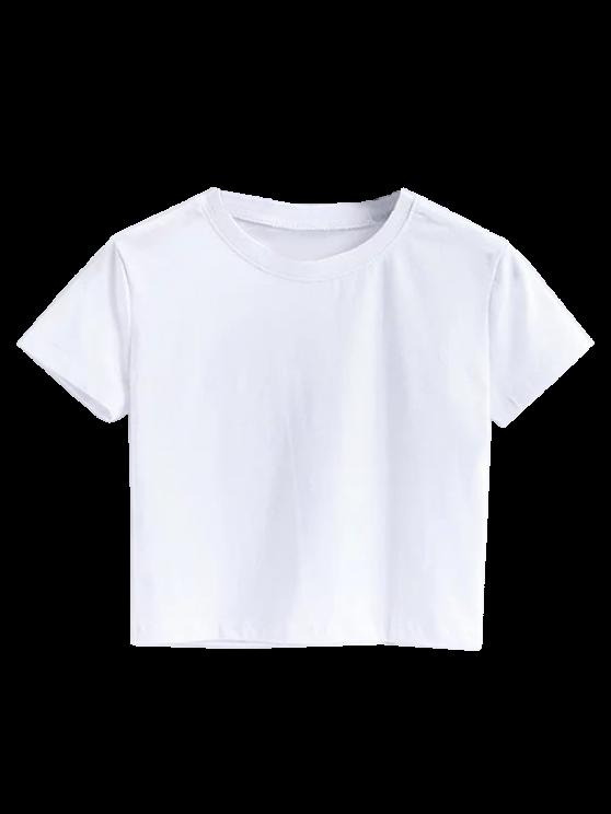 Short Sleeve Mock Neck Cropped Tee - WHITE M Mobile
