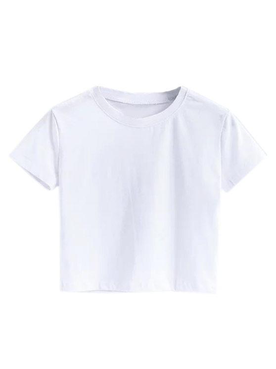 trendy Short Sleeve Mock Neck Cropped Tee - WHITE S