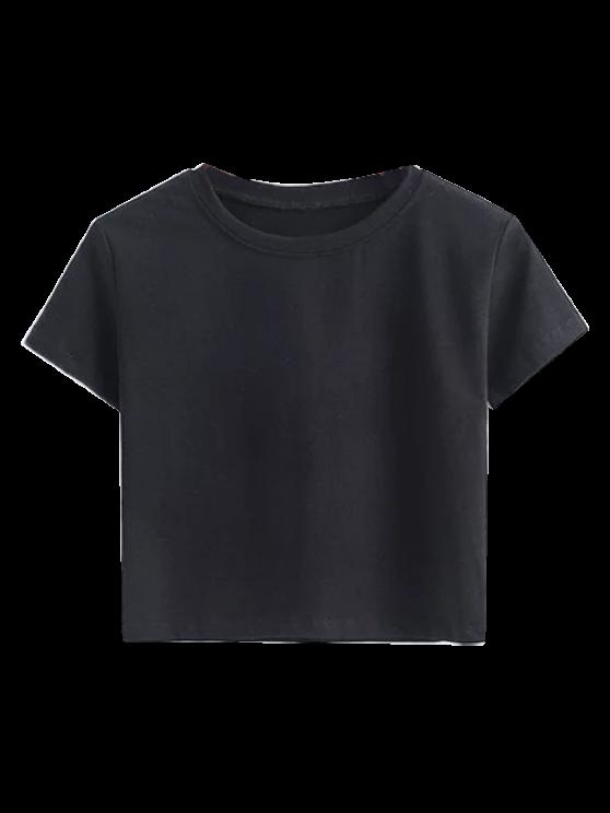 fashion Short Sleeve Mock Neck Cropped Tee - BLACK M