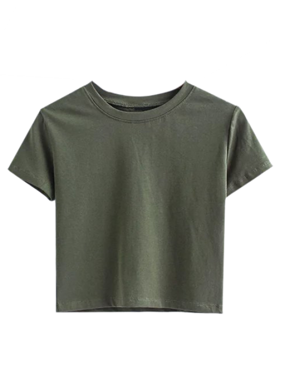 fancy Short Sleeve Mock Neck Cropped Tee - ARMY GREEN M