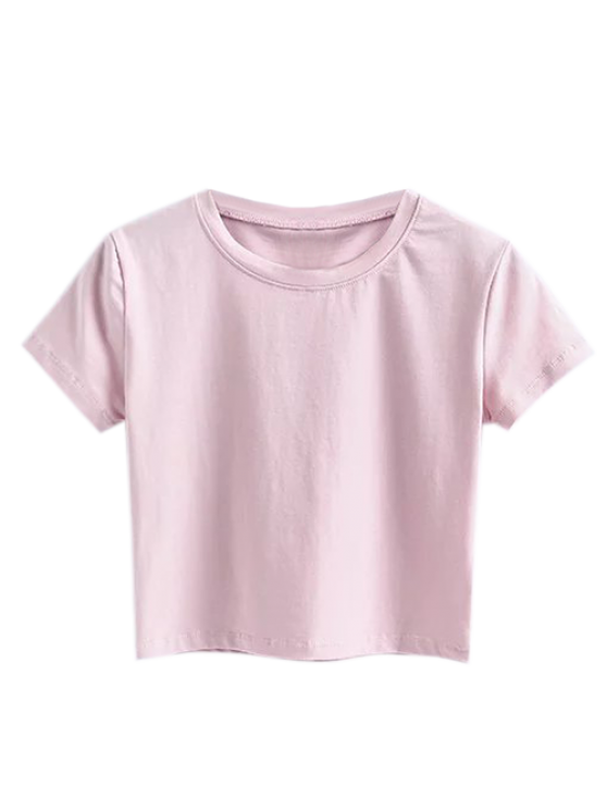 buy Short Sleeve Mock Neck Cropped Tee - SHALLOW PINK M