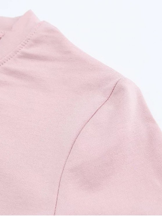 Short Sleeve Mock Neck Cropped Tee - SHALLOW PINK S Mobile