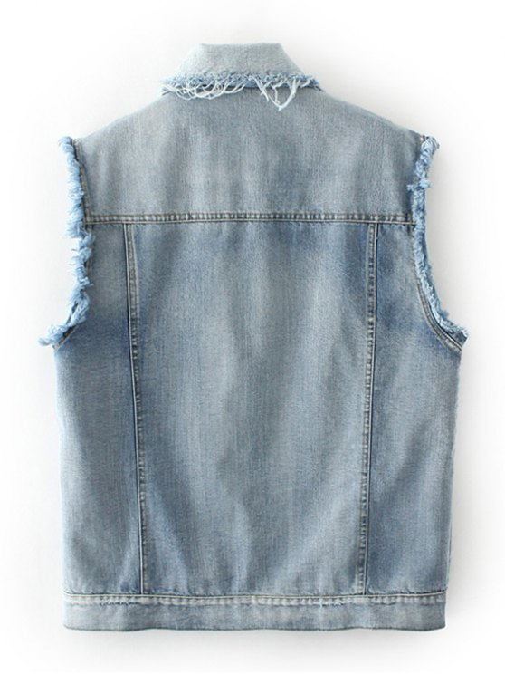 Embroidered Frayed Denim Waistcoat - CLOUDY S Mobile