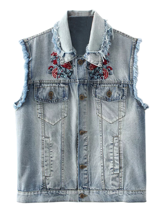 chic Embroidered Frayed Denim Waistcoat - CLOUDY S