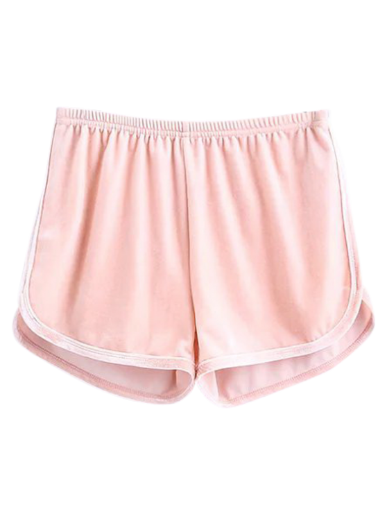 Sporty Velvet Shorts - SHALLOW PINK S Mobile