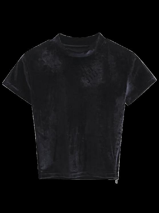 Camiseta con cuello de tripleta de terciopelo - Negro S