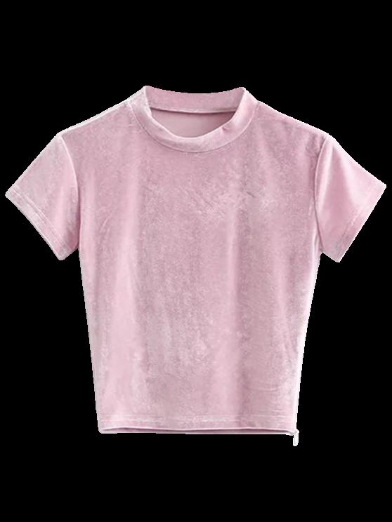 T-shirt à manches courtes en velours - ROSE PÂLE M