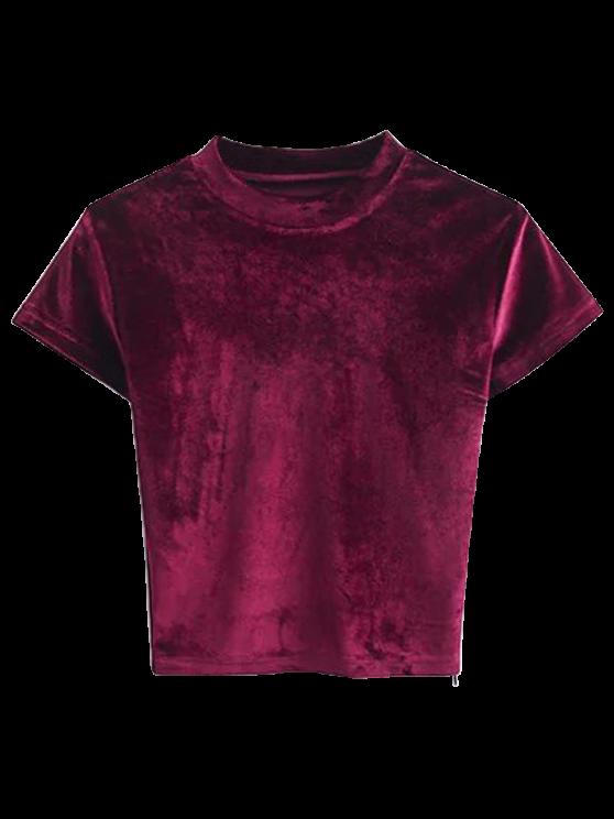 T-shirt à manches courtes en velours - Bourgogne S