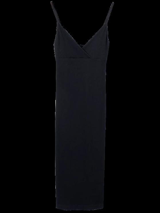 Cami Pluning Neck Surplice Bodycon Vestido - Negro M