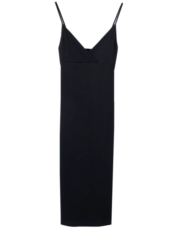 unique Cami Plunging Neck Surplice Bodycon Dress - BLACK S