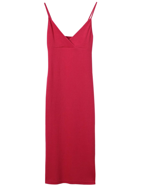 women Cami Plunging Neck Surplice Bodycon Dress - RED M
