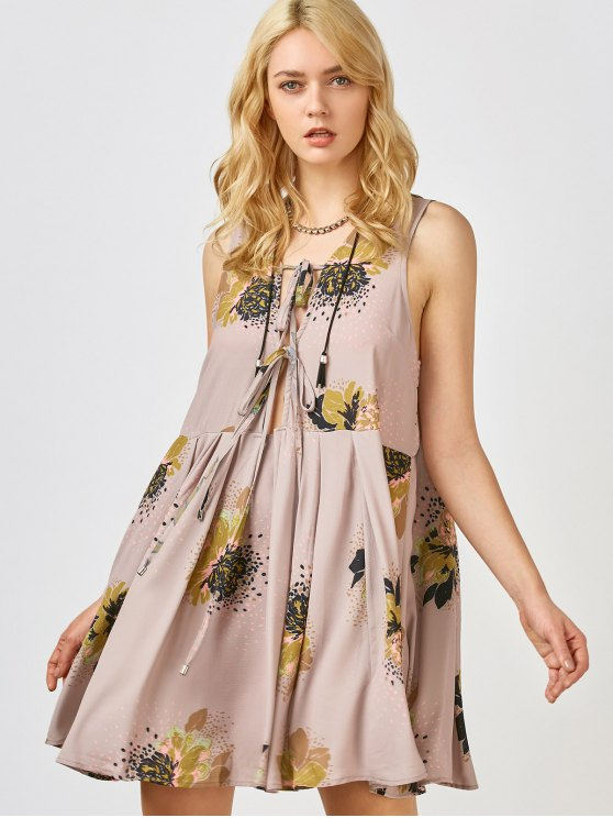 latest Printed Tie Up Plunge Sundress - PALE PINKISH GREY L