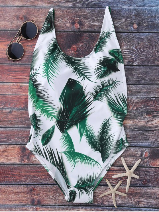 Crisscross Leaf Print Swimwear - WHITE M Mobile
