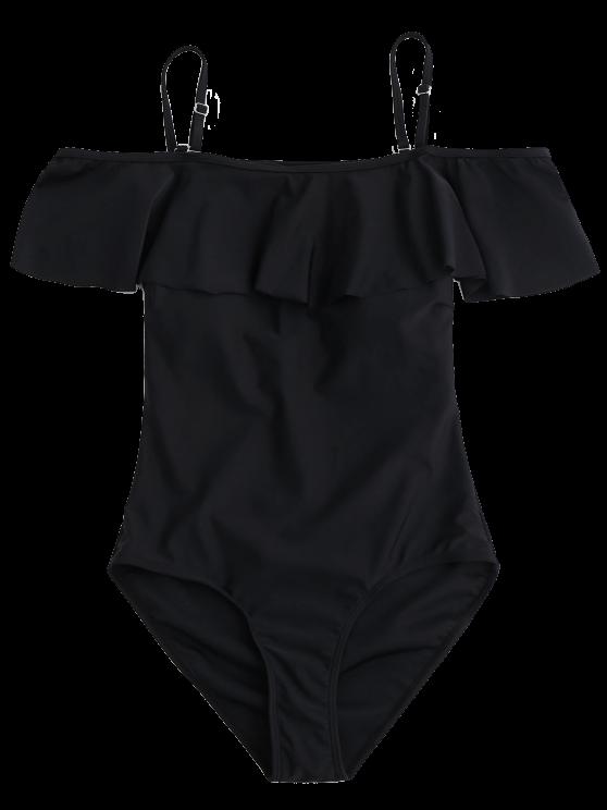 Off The Shoulder Flounced One-Piece Swimwear - BLACK L Mobile