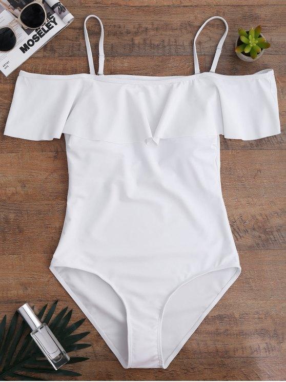 unique Off The Shoulder Flounced One-Piece Swimwear - WHITE S