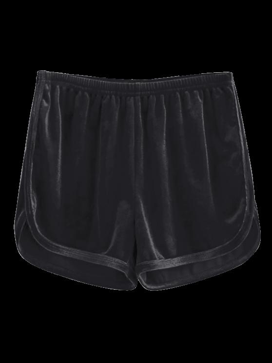 trendy Sporty Velvet Shorts - BLACK S