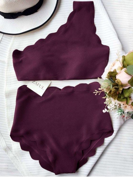 women High Waisted Scalloped One Shoulder Bikini - MERLOT XL