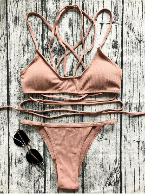 Bikinis col V entrecroisé vert foncé - Latérite M