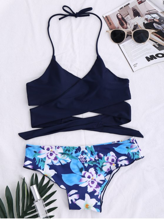 online String Floral Panel Bikini Set - PURPLISH BLUE M