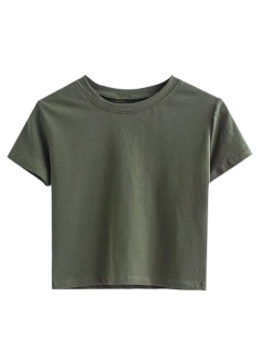 Short Sleeve Mock Neck Cropped Tee - Army Green S