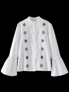 Embroidered Flare Sleeve Mandarin Collar Shirt - White S