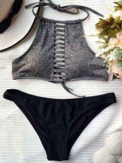 Color Block Lace Up Bikini Set - Black And Grey M