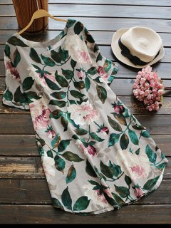 Casual Floral A-Line Dress - Green M