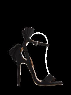 Ankle Strap Mini Heel Flower Sandals - Black 39