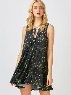 Mini Floral Chiffon Sun Dress - Black M