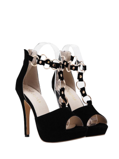 Metal Rings Peep Toe Zipper Sandals - Black 39
