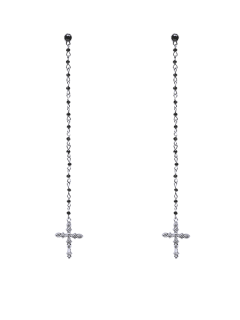 Rhinestone Crucifix Drop Earrings - Silver