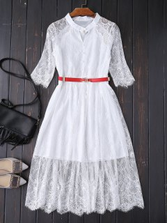 Buttoned Lace Dress With Belt - White Xl