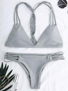 Cutout Strappy Bikini Set - Gray M