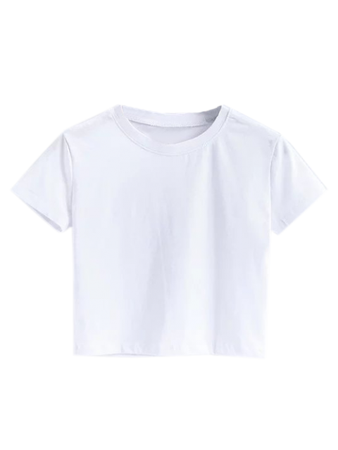 latest Short Sleeve Mock Neck Cropped Tee - WHITE M Mobile