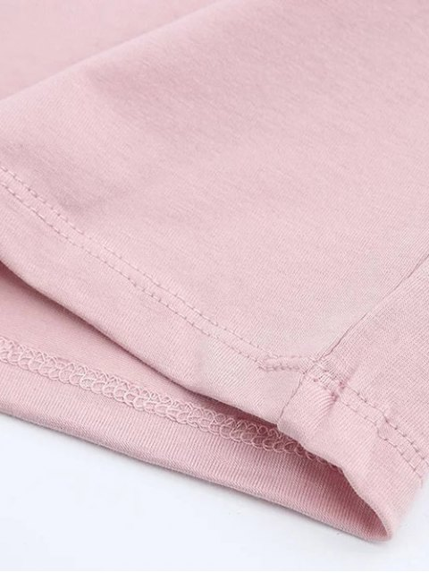 womens Short Sleeve Mock Neck Cropped Tee - SHALLOW PINK S Mobile