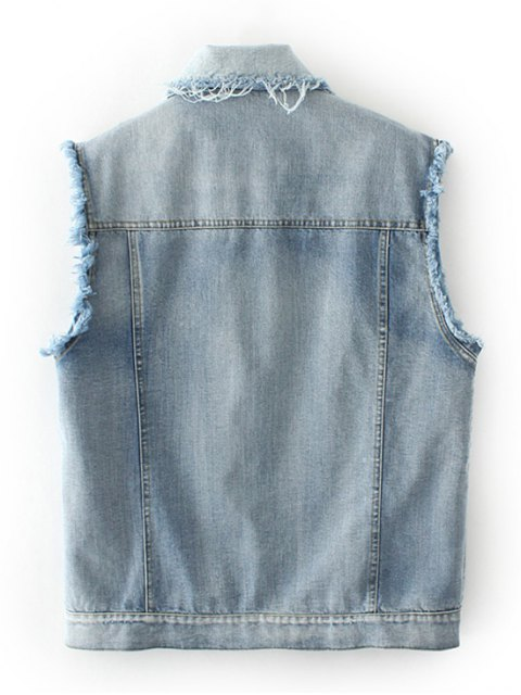 trendy Embroidered Frayed Denim Waistcoat - CLOUDY L Mobile
