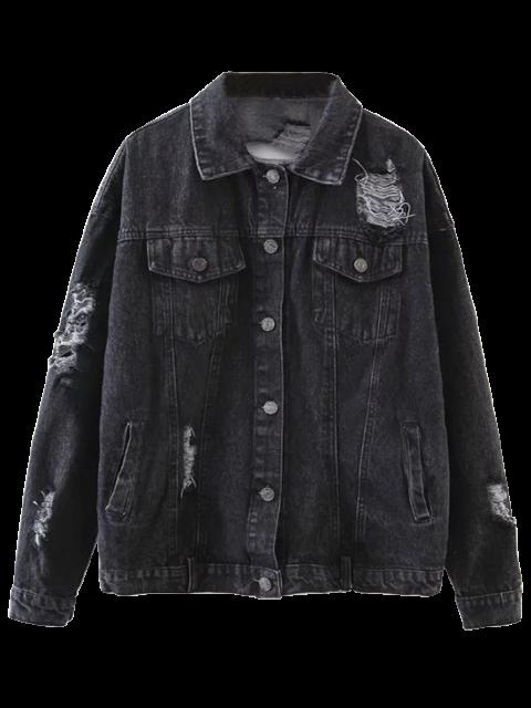 buy Graphic Distressed Denim Jacket - BLACK ONE SIZE Mobile
