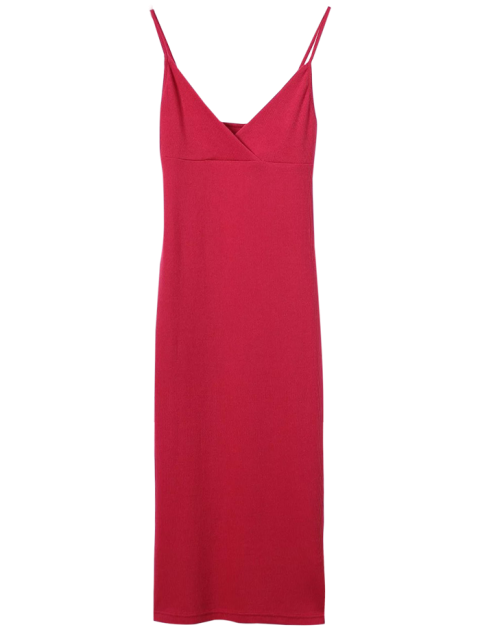women's Cami Plunging Neck Surplice Bodycon Dress - RED S Mobile